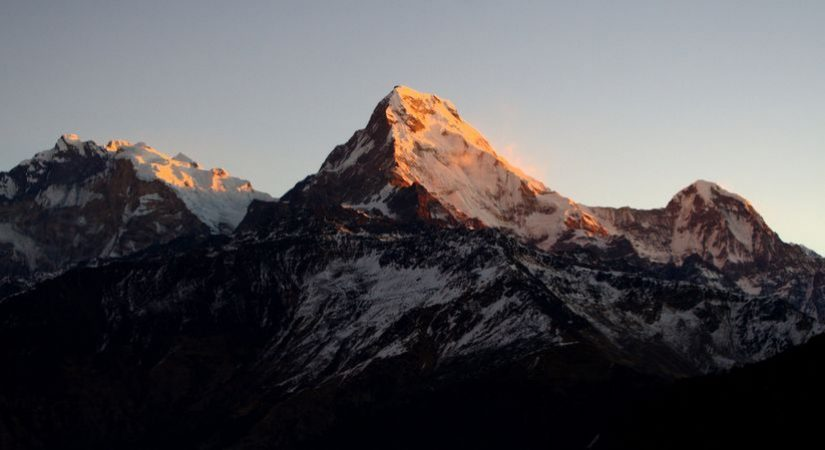 Mt. Annapurna South and other snow-peak mountains