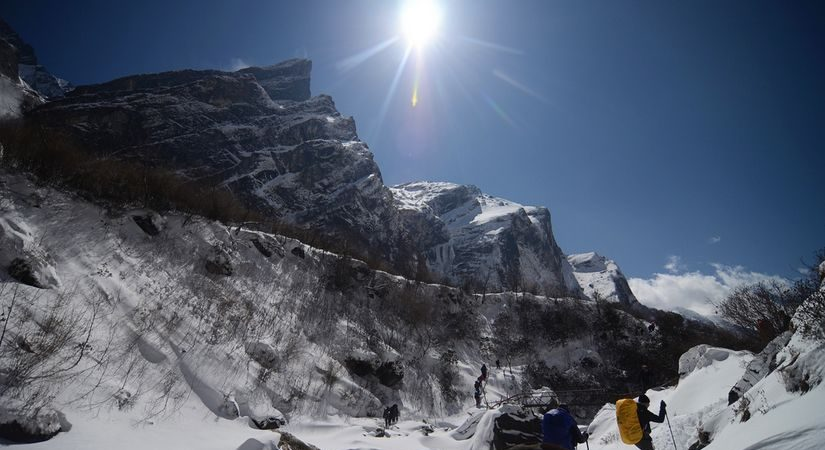 On the way to Annapurna South Base Camp (4800m/15744ft)