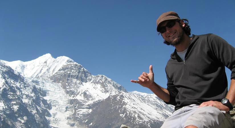 Our guest snap with background of Annapurna Range