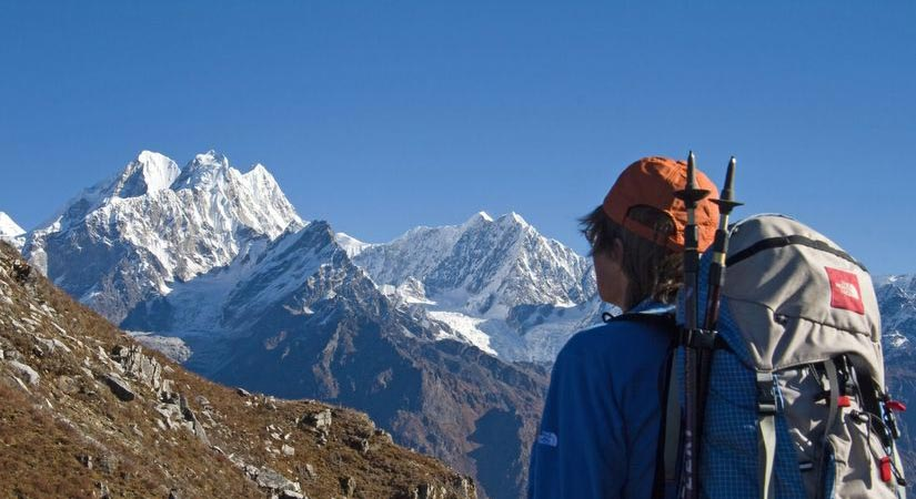 Guest having a nice view of Dorje Lakpa (6966m/22848ft)