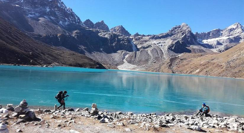 Guests capturing their moments at Gokyo Lake