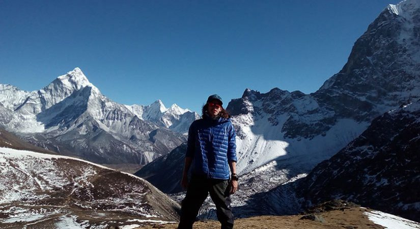 Our Guest take photo from Lobuche peak base camp.