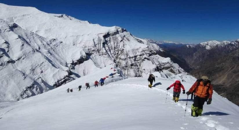 Climbing the gradual ascending towards Mt. Putha Hiunchuli