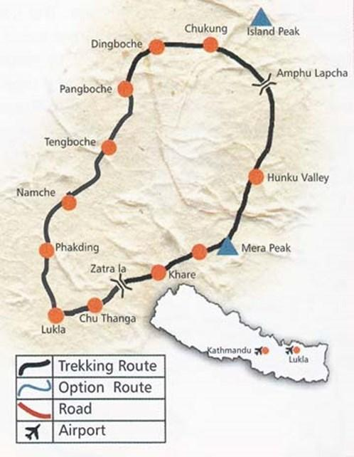 Mera Peak versus Island Peak Route Map