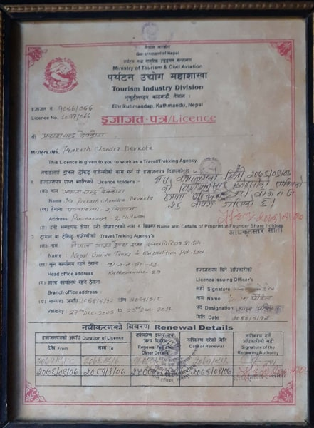 Department of Tourism Register Certificate